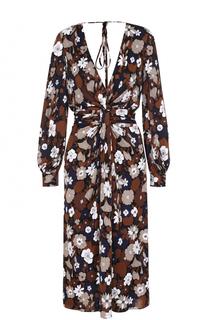 Приталенное платье с цветочным принтом и открытой спиной Michael Kors