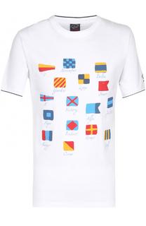 Хлопковая футболка с принтом Paul&Shark Paul&Shark
