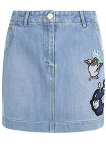 Джинсовая мини-юбка с контрастными нашивками Kenzo