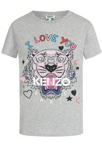 Хлопковая футболка прямого кроя с контрастным принтом Kenzo