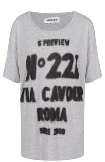 Удлиненная хлопковая футболка с контрастной надписью 5PREVIEW