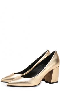Туфли из металлизированной кожи на устойчивом каблуке Baldan