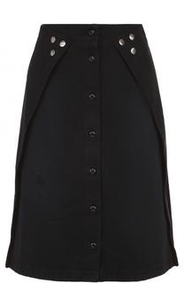 Джинсовая юбка-миди А-силуэта с декоративной отделкой Mm6