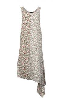 Шелковое платье миди без рукавов с асимметричным подолом Joseph