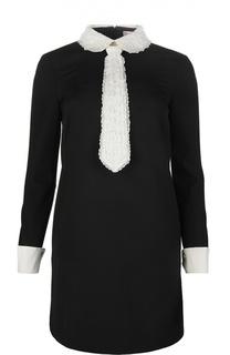 Прямое мини-платье с контрастной кружевной отделкой REDVALENTINO