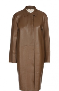 Кожаное пальто прямого кроя с отложным воротником Marni