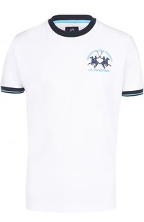 Хлопковая футболка с контрастной отделкой La Martina