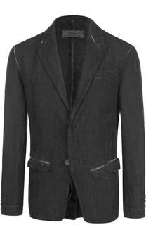 Льняной однобортный пиджак с контрастной отделкой Transit