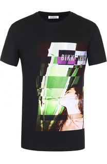 Хлопковая футболка с контрастным принтом Dirk Bikkembergs