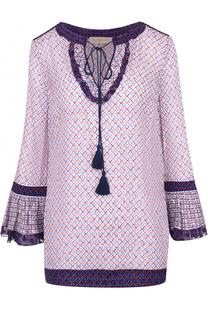 Удлиненная шелковая блуза с кулиской и контрастным принтом Tory Burch