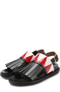 Кожаные сандалии с бахромой Marni