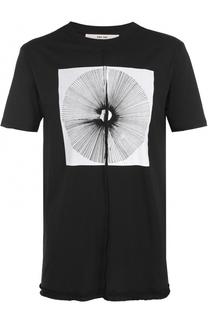 Удлиненная хлопковая футболка с принтом Damir Doma