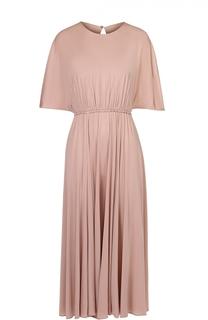 Приталенное платье-миди с разрезом на спинке Valentino