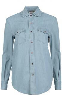 Джинсовая блуза прямого кроя с контрастными отделкой и пуговицами Saint Laurent
