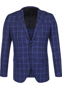 Однобортный пиджак из смеси шерсти и шелка со льном Sartoria Latorre
