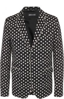 Однобортный хлопковый пиджак с принтом в виде звезд Just Cavalli
