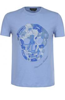 Хлопковая футболка с контрастной отделкой Alexander McQueen