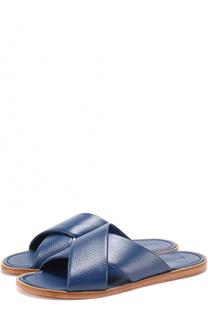 Кожаные шлепанцы с широкими ремешками A. Testoni