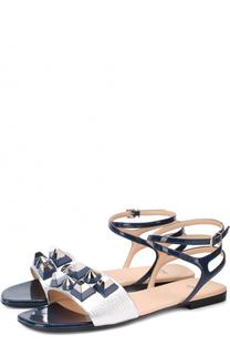 Кожаные сандалии с декором Fendi