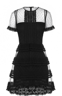 Приталенное кружевное мини-платье с коротким рукавом REDVALENTINO