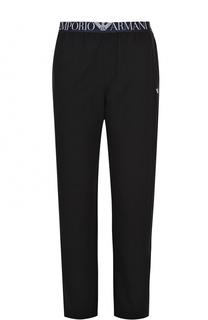 Хлопковые домашние брюки свободного кроя Emporio Armani
