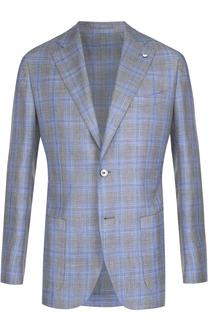 Однобортный пиджак из смеси шерсти и шелка со льном L.B.M. 1911
