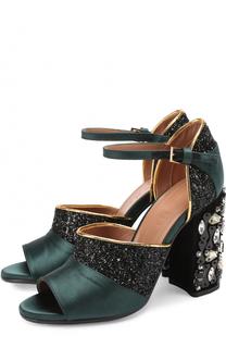 Комбинированные босоножки на каблуке с кристаллами Marni