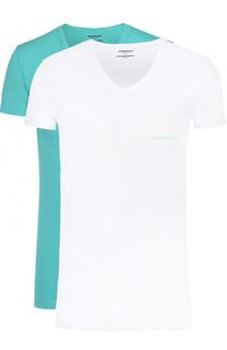 Комплект из двух хлопковых футболок с V-образным вырезом Emporio Armani
