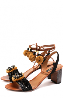 Комбинированные босоножки с декором на устойчивом каблуке Dolce & Gabbana