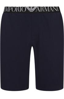 Хлопковые домашние шорты свободного кроя Emporio Armani