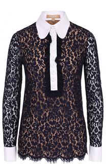 Приталенная кружевная блуза с контрастной отделкой Michael Kors