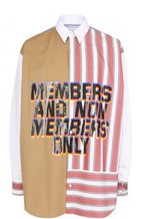 Хлопковая рубашка свободного кроя с контрастной отделкой Stella McCartney