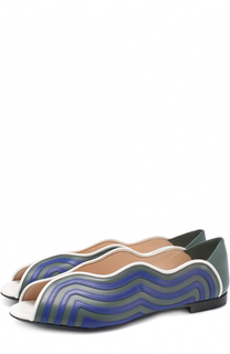 Кожаные балетки с фигурными вырезами Fendi