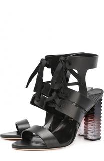 Кожаные босоножки на фигурном каблуке Aperlai