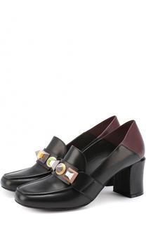 Кожаные туфли с декорированной перемычкой Fendi