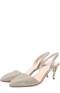 Туфли из металлизированного текстиля на шпильке с декором Oscar de la Renta