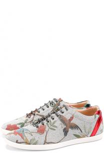 Кеды с принтом на шнуровке Gucci