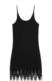 Приталенное мини-платье с асимметричным кружевным подолом Paco Rabanne