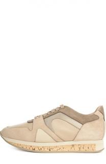 Комбинированные кроссовки с тиснением Burberry