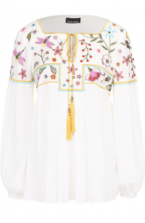Блуза свободного кроя с контрастной цветочной вышивкой Ermanno Scervino