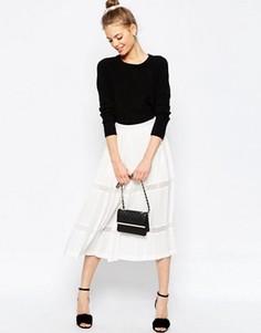 Юбка-шорты со складками и полупрозрачными вставками ASOS Premium - Белый