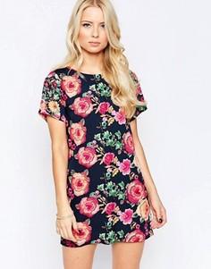Цельнокройное платье с гобеленовым цветочным принтом Iska - Мульти