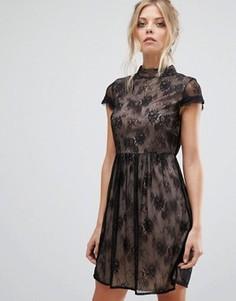 Платье с высоким воротом и короткими рукавами Vila Lace - Черный