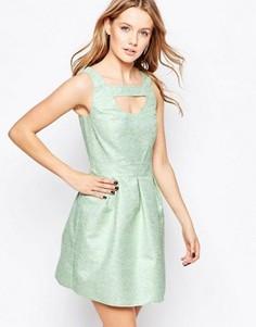 Короткое приталенное платье из жаккарда Lashes Of London - Зеленый