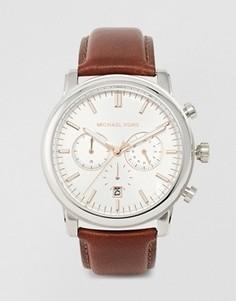 Часы-хронограф с коричневым кожаным ремешком Michael Kors MK8372 Landaulet - Коричневый