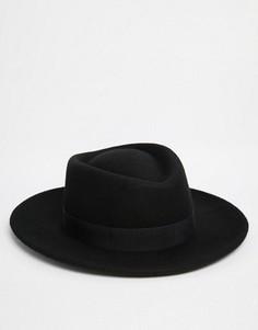 Черная шляпа с плоской тульей ASOS - Черный