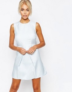 Fashion Union Textured A Line Shift Dress with Pleat Skirt - Мульти