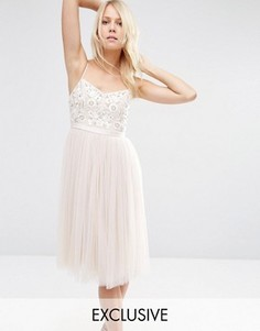 Тюлевое платье миди с вышивкой на груди Needle & Thread - Розовый