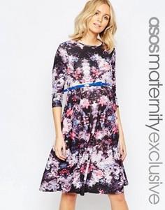 Приталенное платье для беременных с рукавами 3/4 ASOS Maternity - Мульти
