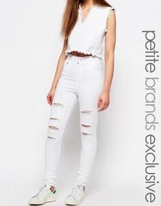 Потертые джинсы скинни с высокой талией Waven Petite Anika - Белый